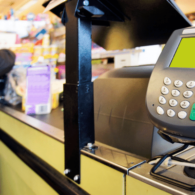 picture of a POS terminal at a grocery store